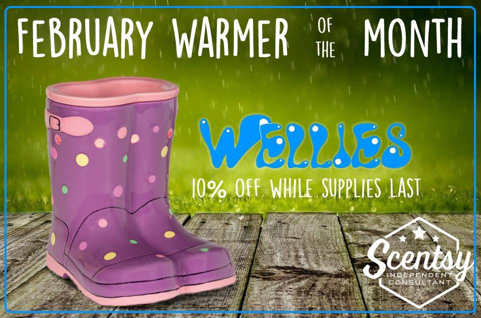 Feb Warmer of the Month - Wellies - Dreams Unlimited Scentsy Independent Consultant