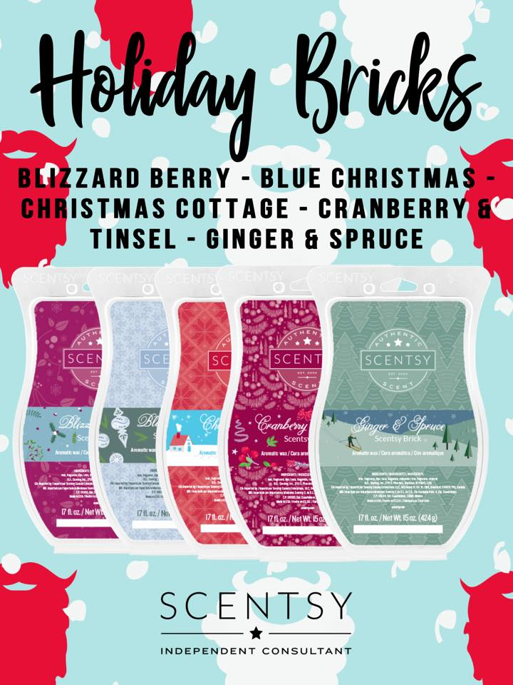 Scentsy Bricks in 5 amazing Holiday scents.